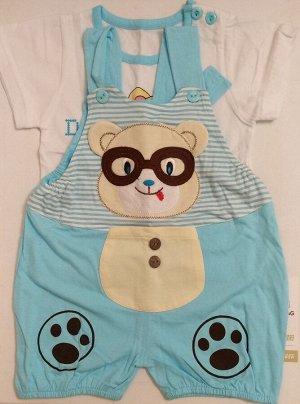 Костюмчик Костюмчик: футболка + комбенизончик. Хлопок 100%. На возраст 4-6 месяцев.