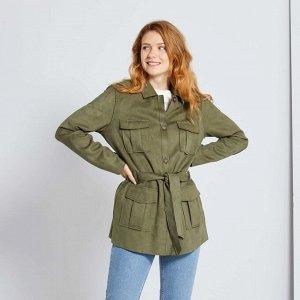 Куртка из искусственной замши с поясом - хаки