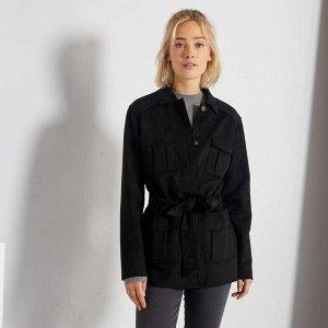 Куртка из искусственной замши с поясом - черный