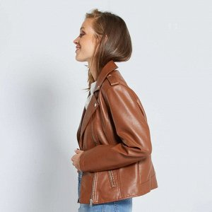 Куртка в байкерском стиле - коричневый