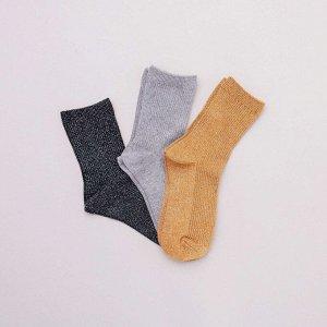 Комплект из 3 пар носков с отделкой блестящими нитями - оранжевый