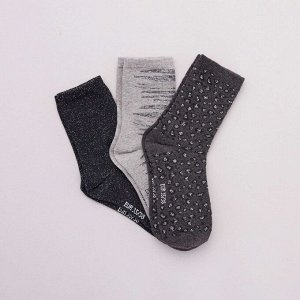 Комплект из 3 пар носков с узорами - серый