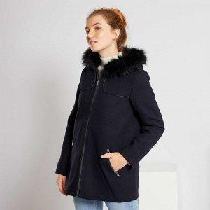 Пальто из материала под шерсть - голубой