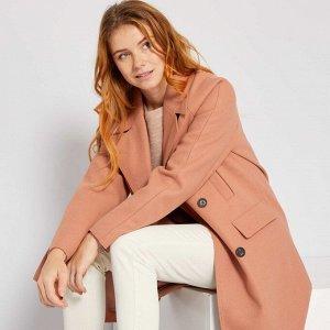 Длинное пальто из материала под шерсть - розовый