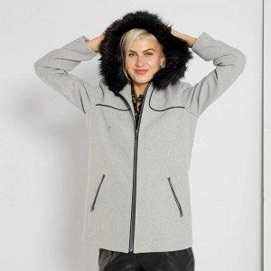 Пальто из материала под шерсть - серый