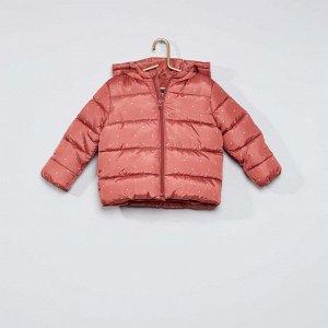 Пуховик на подкладке из велюра - розовый