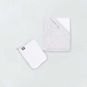 Махровое полотенце-накидка и банная рукавица - белый