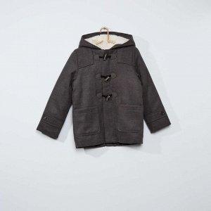 Длинное пальто-бушлат - серый