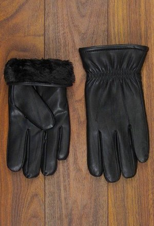 Перчатки мужские кожзам, манжет
