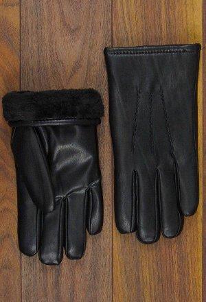 Перчатки мужские, кожзам с мехом