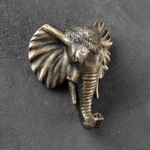 """Крючок фигурный """"Слон"""" бронза 4х12х13см"""