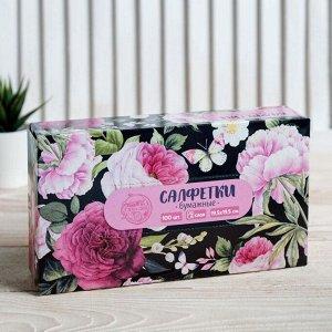 Салфетки бумажные в коробке «Цветы», 100 шт.