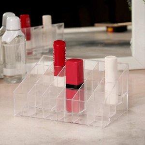 Органайзер для маникюрных/косметических принадлежностей, 24 секции, 14,5 х 9,5 х 7,5 см, цвет прозрачный