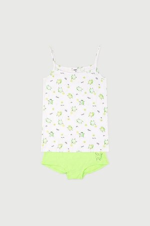 Комплект для девочек КБ 1167 авокадо на белом + ярко-зеленый