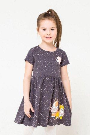 Платье(Осень-Зима)+girls (коричневый, горошки к1250)