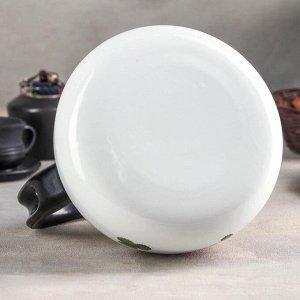 Чайник цельноштампованный 2 л, деколь МИКС, цвет белый
