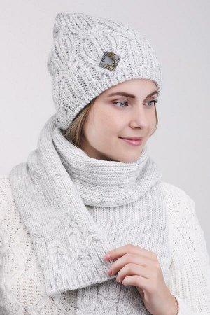 Комплект комплект (шапка шарф), светло серый, Полный флис -  50% шерсть - 50% акрил
