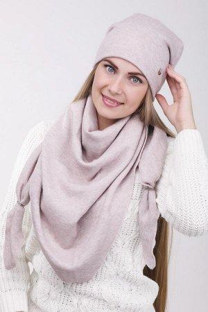 24k001 Комплект, шарф-косынка, шапка 56-58 см светло розовый подклад флис, зима - трикотаж, ангора