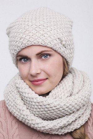 Комплект комплект (шапка  Шапка  56 -58 см , снуд; лён; Двухслойная, подклада флис -  50% шерсть - 50% акрил. люрекс