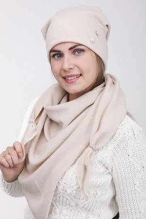 Комплект Комплект, косынка шапка 56-58 см; лён; подклад флис, -  трикотаж