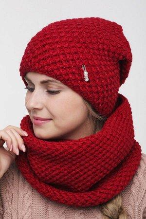 Комплект комплект (шапка  Шапка  56 -58 см , снуд; красный; Двухслойная, подклада флис -  50% шерсть - 50% акрил.  люрекс