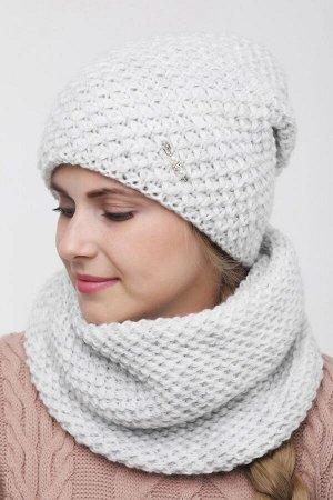 Комплект комплект (шапка  Шапка  56 -58 см , снуд; светло серый; Двухслойная, подклада флис -  50% шерсть - 50% акрил.  люрекс