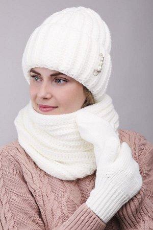 Комплект комплект (шапка снуд варежки); белый; Двухслойная, полный флис -  50% шерсть - 50% акрил