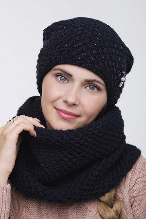 Комплект комплект (шапка  Шапка  56 -58 см , снуд; глубокий синий; Двухслойная, подклада флис -  50% шерсть - 50% акрил.  люрекс