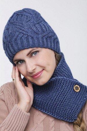 Комплект комплект (шапка  Шапка  56 -58 см , шарф; джинс; Двухслойная, -  50% шерсть - 50% акрил.