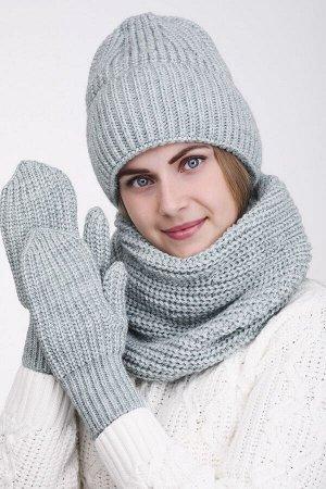 Комплект комплект (шапка снуд варежки); мята; Двухслойная, полный флис -  50% шерсть - 50% акрил