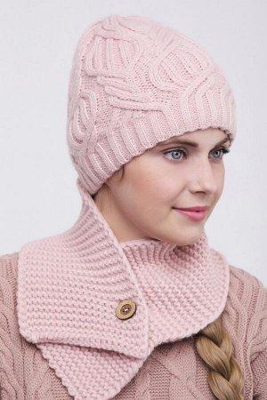 Комплект комплект (шапка  Шапка  56 -58 см , шарф; пудра; Двухслойная, -  50% шерсть - 50% акрил.