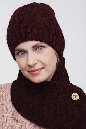 Комплект комплект (шапка  Шапка  56 -58 см , шарф; винный; Двухслойная, -  50% шерсть - 50% акрил.