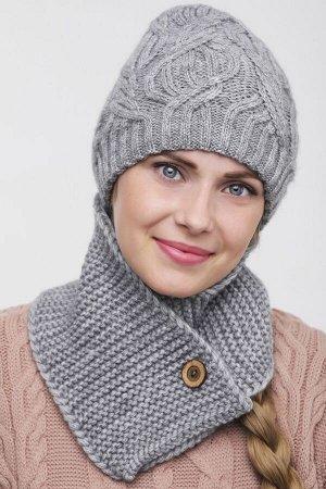 Комплект комплект (шапка  Шапка  56 -58 см , шарф; тёмно серый; Двухслойная, -  50% шерсть - 50% акрил.