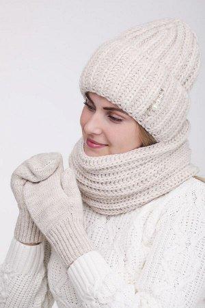 Комплект комплект (шапка снуд варежки); лён; Двухслойная, полный флис -  50% шерсть - 50% акрил