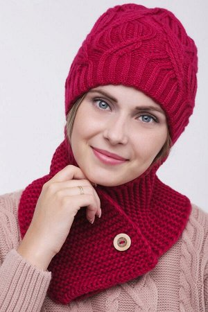 Комплект комплект (шапка  Шапка  56 -58 см , шарф; малина; Двухслойная, -  50% шерсть - 50% акрил.