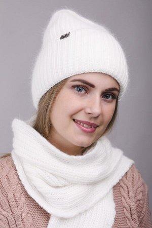 Комплект Комплект. шарф, шапка - 54-58 см; белый; двухслойная - подклад флис -  Пряжа Ангора
