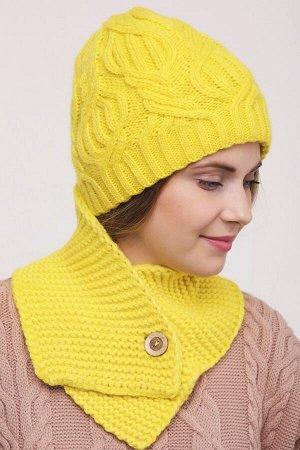 Комплект комплект (шапка  Шапка  56 -58 см , шарф; канареечный; Двухслойная, -  50% шерсть - 50% акрил.