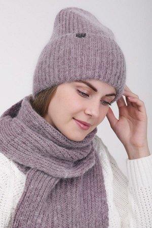 Комплект Комплект. шарф, шапка - 54-58 см; капучино; двухслойная - подклад флис -  Пряжа Ангора