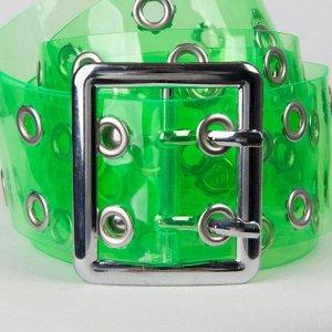 Ремень женский, ширина 5 см, силикон, пряжка металл, цвет зелёный