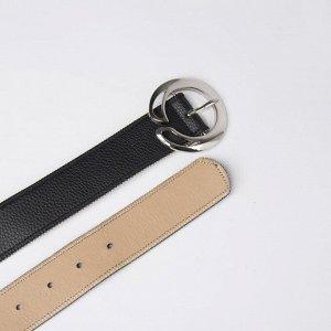 Ремень женский, ширина - 3,8 см, пряжка металл, цвет чёрный