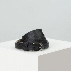 Ремень женский, ширина - 1,4 см, пряжка металл, цвет чёрный