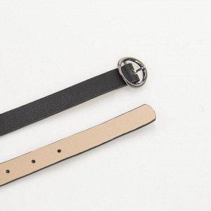 Ремень женский, ширина - 1 см, пряжка металл, цвет чёрный
