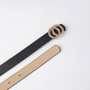 Ремень женский, ширина - 1,8 см, пряжка металл, цвет чёрный