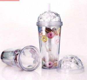 """Стакан д/ напитков пластиковый с крышкой """"Сладкоежка"""" (пончик, шоколат, карамель)"""