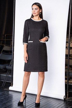 Платье Платье ЮРС 19-268/2  Состав ткани: Вискоза-23%; ПЭ-33%; Люрекс-8%; Акрил-36%;  Рост: 164 см.  Это прекрасное черное платье – универсальный вариант, пленительный в своей элегантности. Это