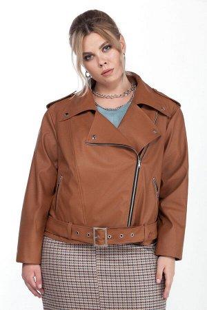 Куртка Куртка Pretty 1210 рыжий  Состав: Вискоза-10%; ПЭ-90%; Сезон: Осень-Зима Рост: 164  Женская куртка, выполненная из эко-кожи.Застежка смещенная на тесьму-молнию, располагается в рельефном шве п