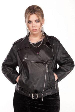 Куртка Куртка Pretty 1210 черный  Состав ткани: Вискоза-10%; ПЭ-90%;  Рост: 164 см.  Женская куртка, выполненная из эко-кожи.  Застежка смещенная на тесьму-молнию, располагается в рельефном шве перед
