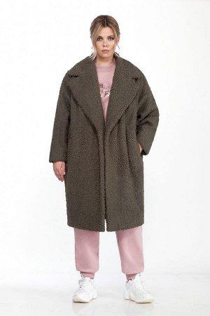 Пальто Пальто Pretty 1585 зеленый тминный  Состав: Вискоза-20%; ПЭ-80%; Сезон: Осень-Зима Рост: 164  Женское пальто овального силуэта (Teddy bear). Выполненное из мягкой коротковорсовой пальтовой тка