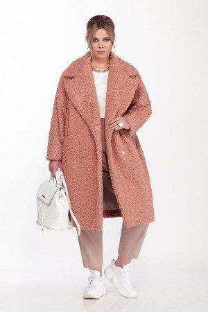 Пальто Пальто Pretty 1585 персиковый розовый  Состав ткани: Вискоза-20%; ПЭ-80%;  Рост: 164 см.  Женское пальто овального силуэта (Teddy bear). Выполненное из мягкой коротковорсовой пальтовой ткани,
