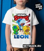 Детская футболка Бравл Старс Леон, Салли Леон, Акула Леон, цвет белый